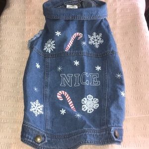 Other - Dog blue jean Christmas jacket